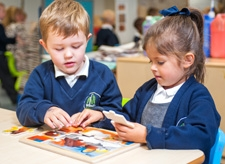 Pupils completing a jigsaw at Willow Tree Primary School