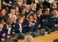 Pupils in assembly at Willow Tree Primary School