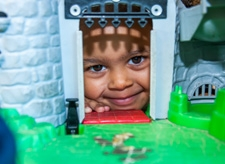 A pupil playing at Willow Tree Primary School